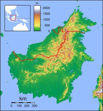 婆罗洲在Borneo Topography的位置