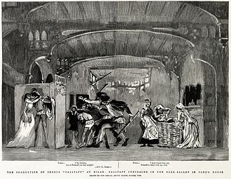 engraving of scene from Falstaff with the lovers behind a screen and Falstaff hidden in the laundry basket