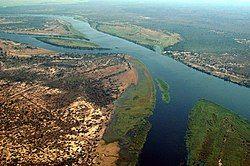 Zambezi River at junction of Namibia, Zambia, Zimbabwe & Botswana.jpg