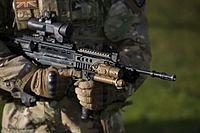 Soldier holding an assault rifle