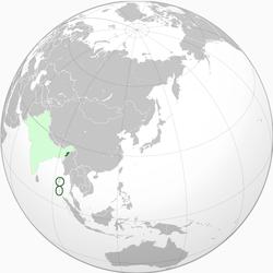 浅绿色: 其主张领土。 深绿色: 其实际控制领土。