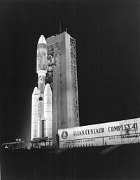 Helios I sitting atop the Titan IIIE / Centaur launch vehicle