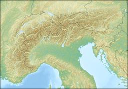 勃朗峰在阿尔卑斯山的位置