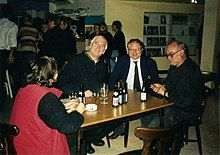 Photo with Noël Godin (left) in Harelbeke, Belgium with his producer Francis De Smet and his director Jan Bucquoy.