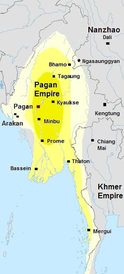 1210年的蒲甘帝国。 那罗波帝悉都在位时期的蒲甘版图。缅甸史书也提及领土包含景栋和清迈。核心区域以深黄绿色呈现。外围区域则以亮黄呈现。蒲甘在十三世纪将下缅甸几个重要港口并入其核心区域。