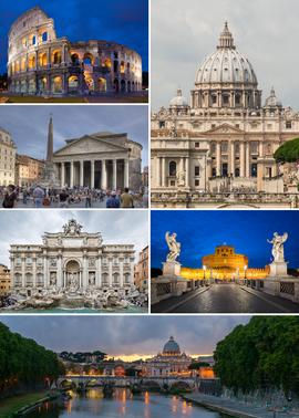 罗马 名胜,右上顺时针起依序为:圣伯多禄大殿[注 1]、圣天使城堡、圣天使桥与台伯河、特雷维喷泉、万神庙、罗马竞技场