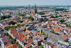 A view of Delft with the Oude Kerk in the centre