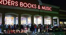 A large crowd of fans wait outside of a Borders store in Delaware, waiting for the release of Harry Potter and the Half-Blood Prince