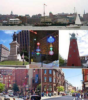 顺时针方向:波特兰海滨,波特兰天文台,中间街道和交易所大街的角落,国会街,美国内战纪念馆,国会广场