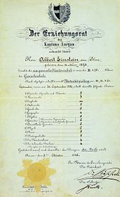 """Einstein's matriculation certificate at the age of 17. The heading translates as """"The Education Committee of the Canton of Aargau"""". His scores were German 5, French 3, Italian 5, History 6, Geography 4, Algebra 6, Geometry 6, Descriptive Geometry 6, Physics 6, Chemistry 5, Natural History 5, Art Drawing 4, Technical Drawing 4. 6 = very good, 5 = good, 4 = sufficient, 3 = insufficient, 2 = poor, 1 = very poor."""