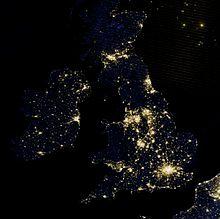 A satellite photo of the British Isles at night