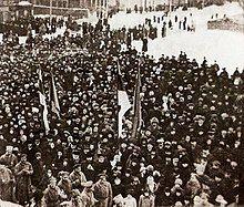 photograph of crowd around flag raising