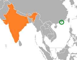 Map indicating locations of Hong Kong and India