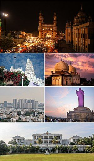 A montage of images related to Hyderabad city