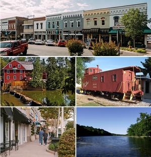 顶端顺时针:罗杰斯市区(英语:Rogers Commercial Historic District)、百周年守车、亚特兰大湖(英语:Lake Atalanta)、山顶点拱廊(英语:Pinnacle Hills Promenade)、战鹰磨坊(英语:War Eagle Mill)