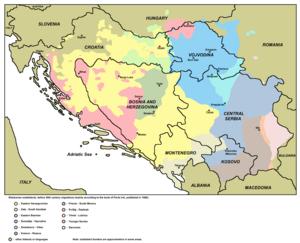 Shtokavian subdialects1988 incl Slovenia.png