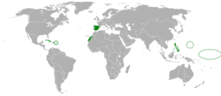 The Kingdom of Spain and its colonies in 1898