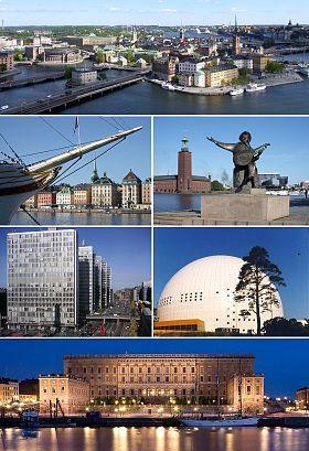 斯德哥尔摩老城、船桥码头、斯德哥尔摩市政厅、干草广场楼群、爱立信球形体育馆和斯德哥尔摩王宫。