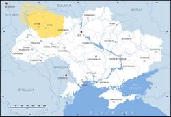 Volhynia (yellow) in modern Ukraine