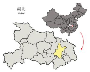图中高亮显示的是武汉市