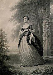 A mezzotint of Martha Washington, standing, wearing a formal gown, based on a 1757 portrait by John Wollaston
