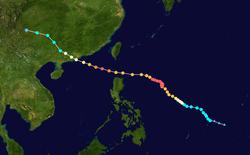 超强台风柏美娜的路径图