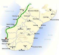 雷焦卡拉布里亚省地图,雷焦卡拉布里亚位于A3公路最南端(A3以绿线表示)