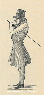 A caricature; the figure is standing facing left, with a top-hat, cane, formal attire. The caricature is over-emphasizing his back, by making him appear as a hunchback.