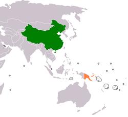 China和Papua New Guinea在世界的位置