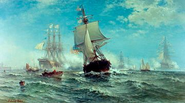 Sail warships at sea with full sail; in the center middle ground, the US ship; in the background, four French warships in a haze giving it a cannon salute with gunpowder; small boats also in the water in the middle ground.