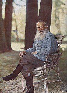 Tolstoy on 23 May 1908 at Yasnaya Polyana,[1] Lithograph print by Sergey Prokudin-Gorsky