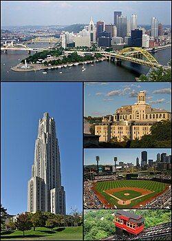 从上到下,从左到右分别为:天际线、匹兹堡大学、卡内基梅隆大学、PNC球场、杜肯缆车(英语:Duquesne Incline)