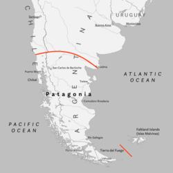 通常所界定的巴塔哥尼亚。