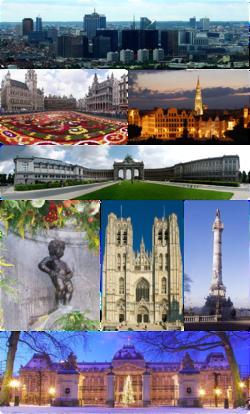 第一排:布鲁塞尔北区;第二排:布鲁塞尔大广场、布鲁塞尔市政厅和艺术山;第三排:五十周年纪念公园;第四排:小于连、圣弥额尔圣古都勒主教座堂、国会柱;最底排:布鲁塞尔王宫