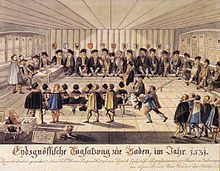 Colored drawing of men listening to speaker