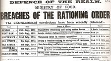 """A document says """"DEFENCE OF THE REALM"""", """"MINISTRY OF FOOD"""", """"BREACHES OF THE RATIONING ORDER"""", """"The undermentioned convictions have been recently obtained"""", and a list of various offences committed and the punishments handed out."""