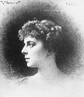 drawing of profile head of youngish woman