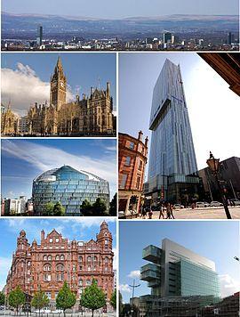顺时针从上:从远处看城市, 比瑟姆塔,曼彻斯特民事司法中心(英语:Manchester Civil Justice Centre),米德兰酒店,一天使广场(英语:One Angel Square), 曼彻斯特市政厅