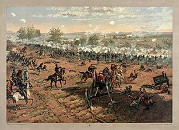 Cavalry charges on a battlefield