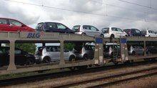 File:Škoda cars being transported by rail at Kutná Hora město train station, Czech Republic - 20140710.ogv