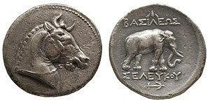 Tetradrachm of Seleucus I – the horned horse, the elephant and the anchor all served as symbols of the Seleucid monarchy.[1][2] of Seleucid Empire