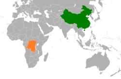 China和Democratic Republic of the Congo在世界的位置