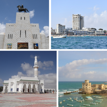 Clockwise from top: Sayid Mohammed Abdullah Hassan monument, Lido Beach, Isbahaysiga Mosque, and the Old Fishing Harbour.