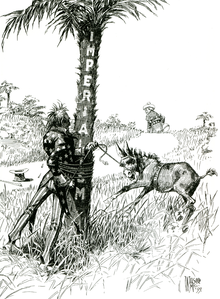 """A black-and-white political cartoon. Uncle Sam (representing the United States) gets entangled with rope around a tree labeled """"Imperialism"""" while trying to subdue a bucking colt or mule labeled """"Philippines"""" while a figure representing Spain walks off over the horizon."""