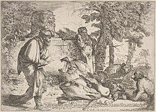 Diogenes holding a lamp during daylight searching for an honest man.