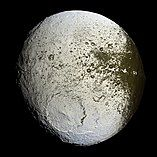 Crater Engelier on Saturn's moon Iapetus