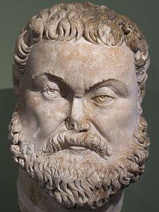 Statue of a bearded male head