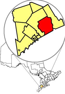 伦敦在安大略省米德尔塞克斯县内的位置