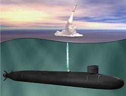 俄亥俄级弹道导弹潜艇发射三叉戟C4潜射弹道导弹的抹拟图