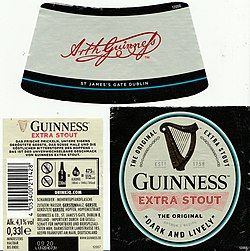 An image of the label on a bottle of Guiness stout